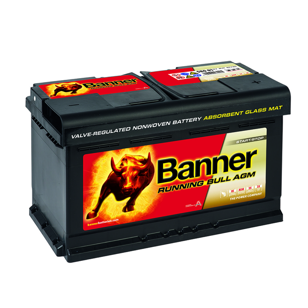 banner running bull agm autobatterie 12v 80ah vrla start. Black Bedroom Furniture Sets. Home Design Ideas