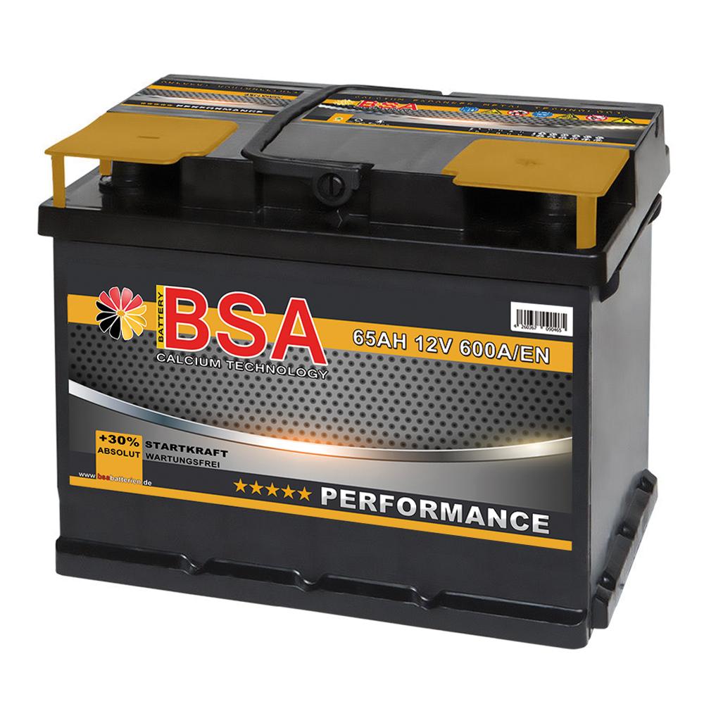 bsa autobatterie 65ah 30 mehr startkraft wartungsfrei. Black Bedroom Furniture Sets. Home Design Ideas